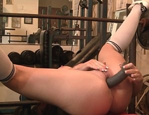 the only time she takes her hands off her body is to grab her dildo and fuck herself