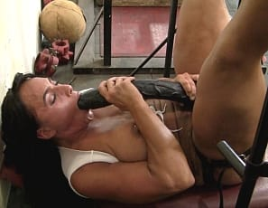 she plays with her pussy and you enjoy her muscular pecs, legs, glutes