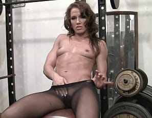 Inari Vachs is posing for you in the gym in Wolford pantyhose, masturbating