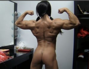 touching the big, ripped, hard muscles of her biceps, pecs, legs, glutes and abs