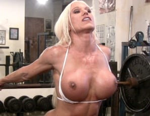 then penetrates that wet pussy with the huge chrome barbell while you watch