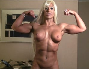 look at her powerful pecs, big biceps awesome abs