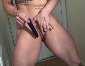 she takes out her favorite toy and masturbates her big muscle clit with it